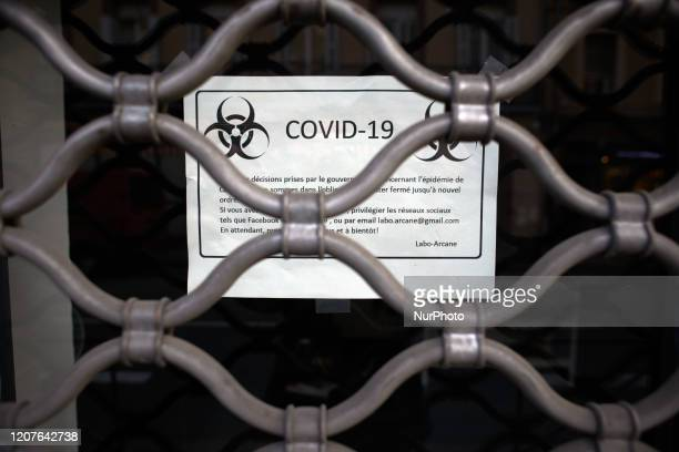 A tatoo shop has put a shhet on the coronavirus Covid19 with the biohazard symbol on his door For the 2nd day French people are on lockdown On Monday...