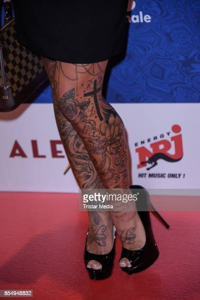 Tatoos of Julia Jasmin Ruehle as a detail at the Serienale Opening on September 27 2017 in Berlin Germany