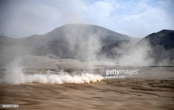TOPSHOT Tatra's truck Driver Ales Loprais and codrivers Lukas Janda and Ferran Marco Alcayna compete during the 2018 Dakar Rally Stage 5 between San...