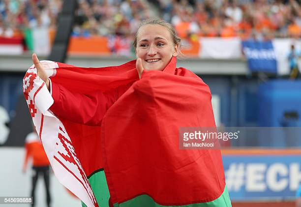 Tatsiana Khaladovich of Belarus celebrates after winning gold in the final of the womens javelin on day four of The 23rd European Athletics...