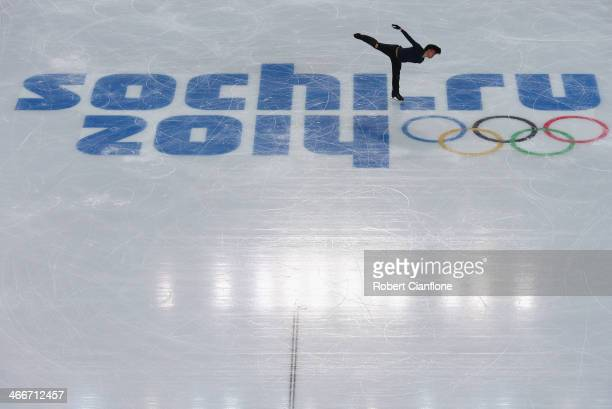 Tatsuki Machida of Japan in action during a figure skating training session at Iceberg Skating Palace on February 3 2014 in Sochi Russia