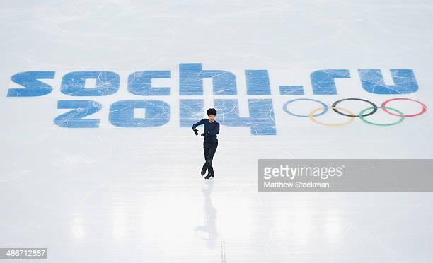 Tatsuki Machida of Japan practices during Figure Skating training ahead of the Sochi 2014 Winter Olympics at Iceberg Skating Palace on February 3...