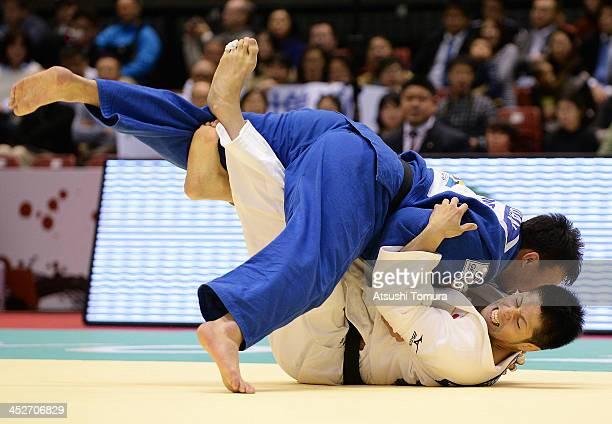 Tatsuki Masabuchi of Japan and Tuvshinbayar Naidan of Mongol compete in the men's 100kg round 2 during day three of the Judo Grand Slam at the on...