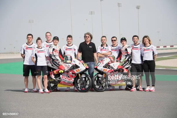 Tatsuki Suzuki of Italy and Sic 58 Squadra Corse Honda and Niccolo Antonelli of Italy and Sic 58 Squadra Corse Honda pose with team and bikes on...