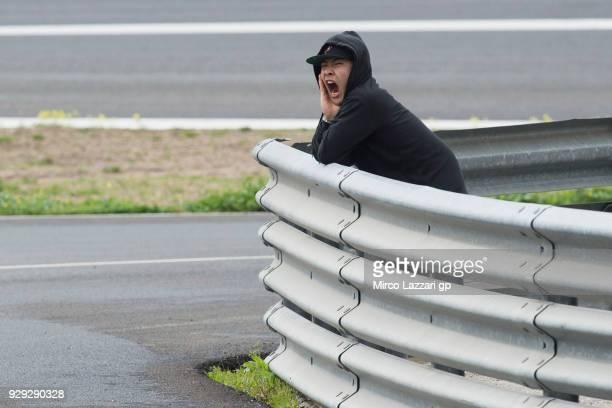 Tatsuki Suzuki of Italy and Sic 58 Squadra Corse Honda jokes in paddock during the Moto2 Moto3 Tests In Jerez at Circuito de Jerez on March 8 2018 in...