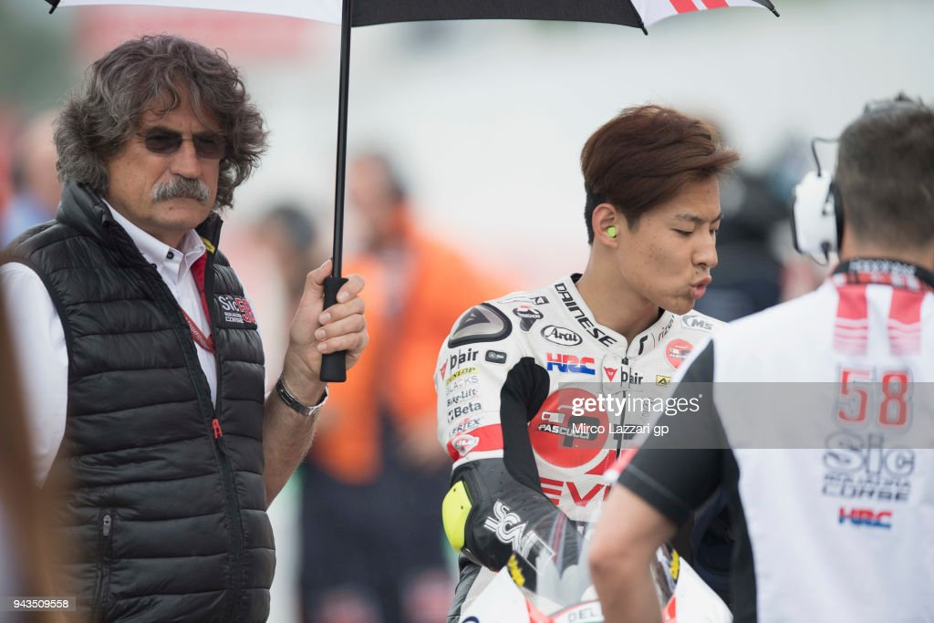 Tatsuki Suzuki of Italy and Sic 58 Squadra Corse Honda prepares to start on the grid during the Moto3 race during the MotoGp of Argentina - Race on April 8, 2018 in Rio Hondo, Argentina.