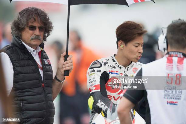Tatsuki Suzuki of Italy and Sic 58 Squadra Corse Honda prepares to start on the grid during the Moto3 race during the MotoGp of Argentina Race on...