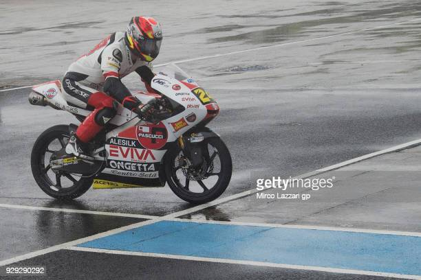Tatsuki Suzuki of Italy and Sic 58 Squadra Corse Honda returns in box during the Moto2 Moto3 Tests In Jerez at Circuito de Jerez on March 8 2018 in...
