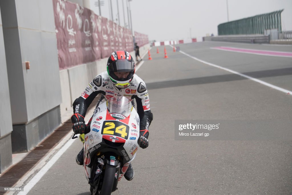 Tatsuki Suzuki of Italy and Sic 58 Squadra Corse Honda returns in box during the MotoGP of Qatar - Free Practice at Losail Circuit on March 16, 2018 in Doha, Qatar.