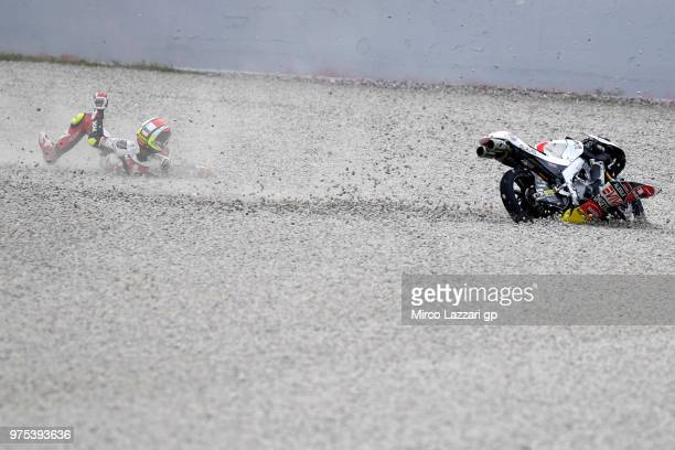 Tatsuki Suzuki of Japan and Sic 58 Squadra Corse crashed out during the MotoGp of Catalunya Free Practice at Circuit de Catalunya on June 15 2018 in...