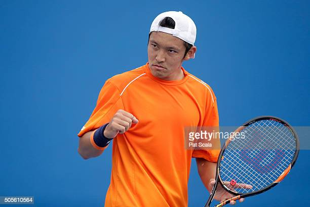 Tatsuma Ito of Japan celebrates in his first round match against Radek Stepanek of Czech Republic during day two of the 2016 Australian Open at...