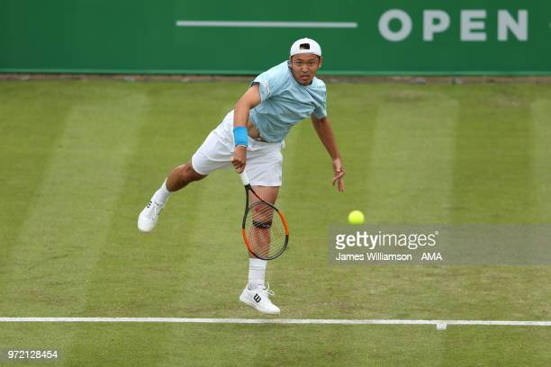 Tatsuma Ito of Japan during Day 4 of the Nature Valley open at Nottingham Tennis Centre on June 12, 2018 in Nottingham, England.