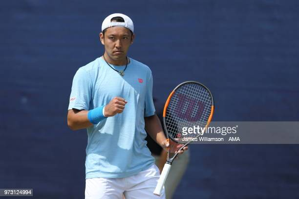 Tatsuma Ito of Japan during Day Five of the Nature Valley open at Nottingham Tennis Centre on June 13 2018 in Nottingham England