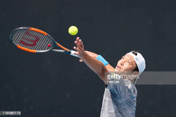 Tatsuma Ito of Japan in action during his Men's Singles first round match against Prajnesh Gunneswaran of India on day two of the 2020 Australian...