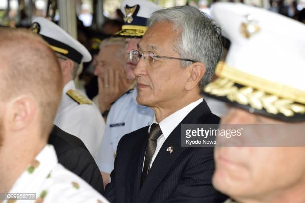 Tatsunobu Isoda mayor of Japan's Nagaoka city attends a ceremony in Honolulu Hawaii on Dec 7 marking the 77th anniversary of the 1941 Japanese attack...