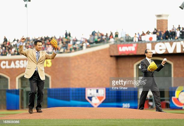 Tatsunori Hara and Sadaharu Oh throw out the ceremonial first pitch before the semifinals of the World Baseball Classic at ATT Park on March 17 2013...