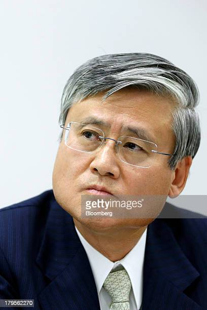 Tatsuo Higuchi president and chief executive officer of Otsuka Holdings Co pauses during a news conference in Tokyo Japan on Thursday Sept 5 2013...