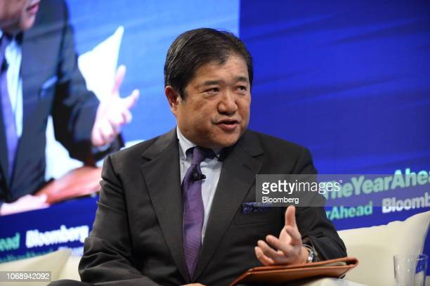 Tatsuo Yasunaga president and chief executive officer of Mitsui Co speaks during the Bloomberg Year Ahead summit in Tokyo Japan on Thursday Dec 6...