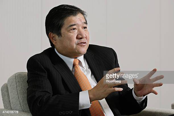 Tatsuo Yasunaga president and chief executive officer of Mitsui Co speaks during an interview in Tokyo Japan on Tuesday May 19 2015 Food health care...