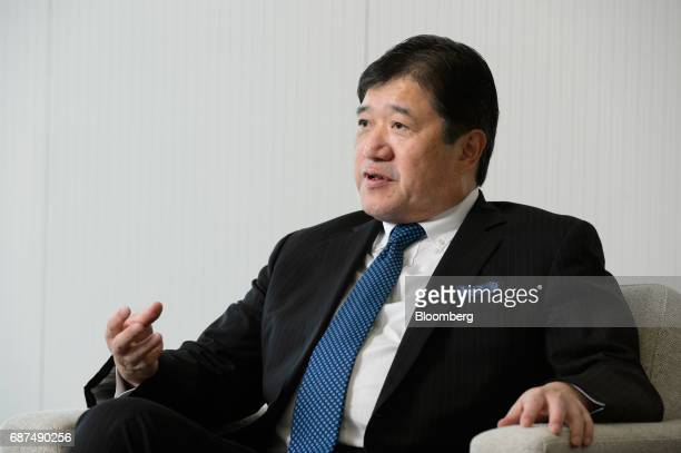 Tatsuo Yasunaga president and chief executive officer of Mitsui Co speaks during an interview in Tokyo Japan on Tuesday May 23 2017 Mitsui aims to...