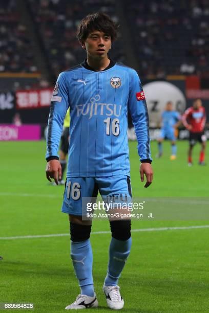 Tatsuya Hasegawa of Kawasaki Frontale in action during the J.League J1 match between Consadole Sapporo and Kawasaki Frontale at Sapporo Dome on April...