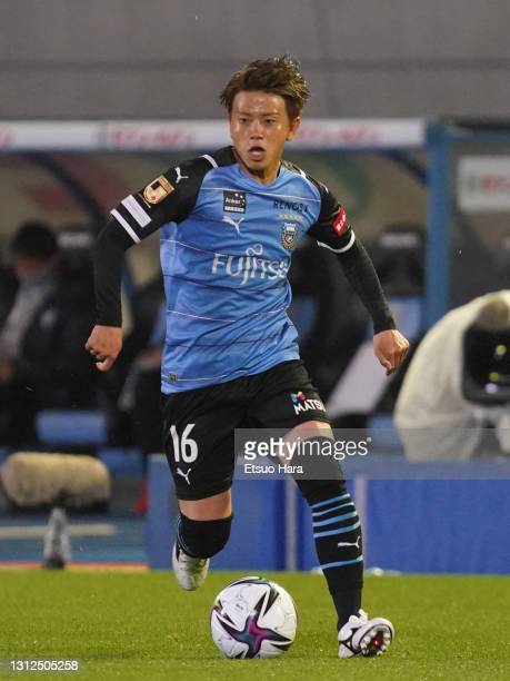 Tatsuya Hasegawa of Kawasaki Frontale in action during the J.League Meiji Yasuda J1 match between Kawasaki Frontale and Avispa Fukuoka at Todoroki...