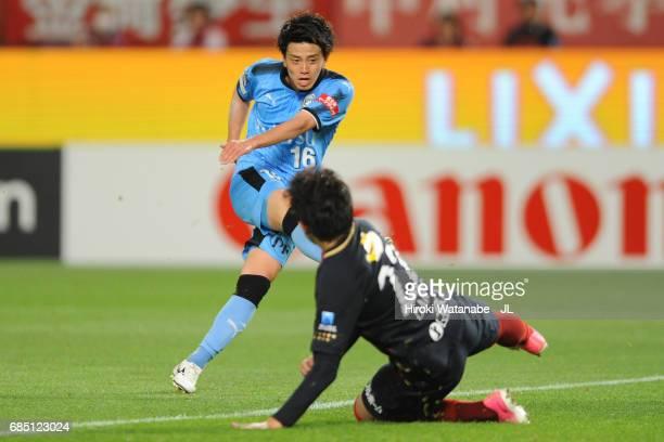 Tatsuya Hasegawa of Kawasaki Frontale scores his side's second goal during the J.League J1 match between Kashima Antlers and Kawasaki Frontale at...