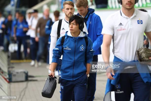 Tatsuya Ito of Hamburg arrives in the arena before the Bundesliga match between VfL Wolfsburg and Hamburger SV at Volkswagen Arena on April 28 2018...