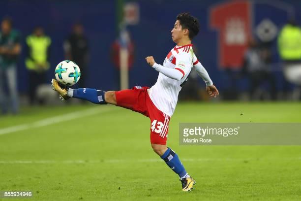 Tatsuya Ito of Hamburg during the Bundesliga match between Hamburger SV and SV Werder Bremen at Volksparkstadion on September 30 2017 in Hamburg...