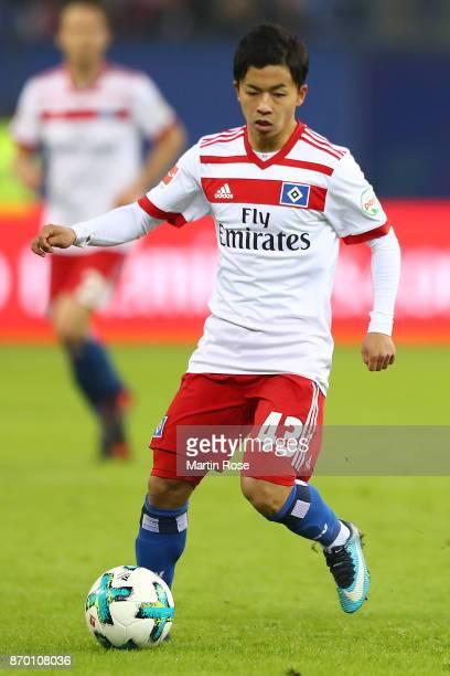 Tatsuya Ito of Hamburg during the Bundesliga match between Hamburger SV and VfB Stuttgart at Volksparkstadion on November 4 2017 in Hamburg Germany