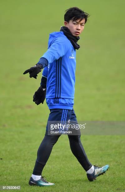 Tatsuya Ito of Hamburg gestures during a training session of Hamburger SV at Volksparkstadion on February 1 2018 in Hamburg Germany