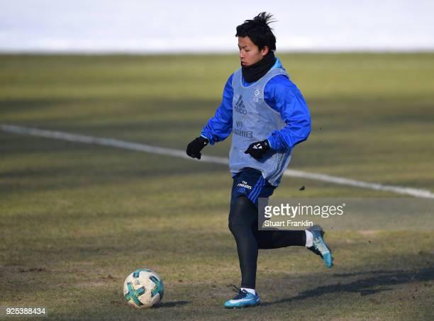 Tatsuya Ito of Hamburg in action during a the training session of Hamburger SV at Volksparkstadion on February 28 2018 in Hamburg Germany