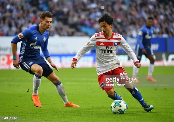 Tatsuya Ito of Hamburg in action during the Bundesliga match between Hamburger SV and FC Schalke 04 at Volksparkstadion on April 7 2018 in Hamburg...