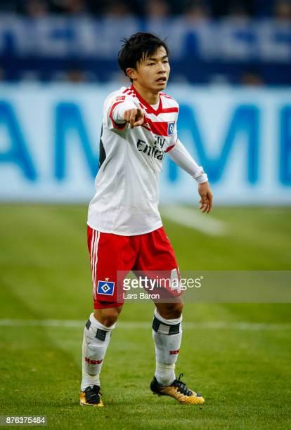 Tatsuya Ito of Hamburg is seen during the Bundesliga match between FC Schalke 04 and Hamburger SV at VeltinsArena on November 19 2017 in...