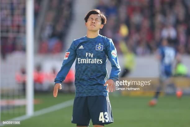 Tatsuya Ito of Hamburg looks dejected after missing a chance during the Bundesliga match between VfB Stuttgart and Hamburger SV at MercedesBenz Arena...