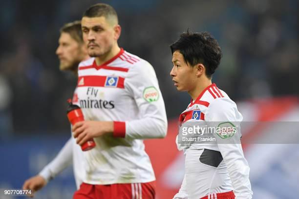 Tatsuya Ito of Hamburg looks dejected after the Bundesliga match between Hamburger SV and 1 FC Koeln at Volksparkstadion on January 20 2018 in...