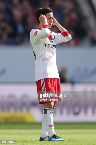 Tatsuya Ito of Hamburg looks dejected during the Bundesliga match between TSG 1899 Hoffenheim and Hamburger SV at Wirsol RheinNeckarArena on April 14...