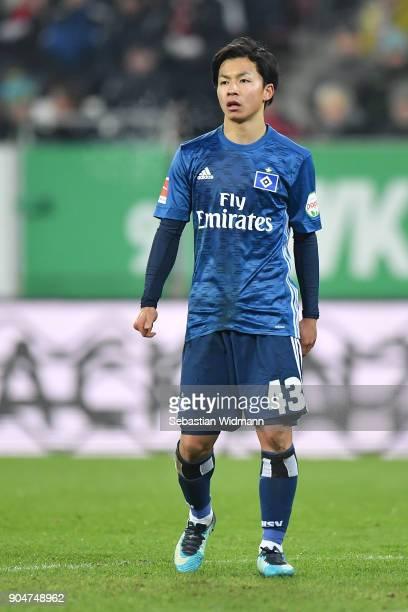 Tatsuya Ito of Hamburg looks on during the Bundesliga match between FC Augsburg and Hamburger SV at WWKArena on January 13 2018 in Augsburg Germany