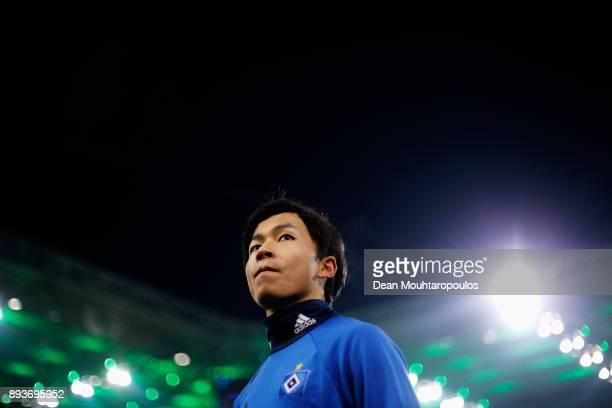 Tatsuya Ito of Hamburg looks on prior to the Bundesliga match between Borussia Moenchengladbach and Hamburger SV at BorussiaPark on December 15 2017...