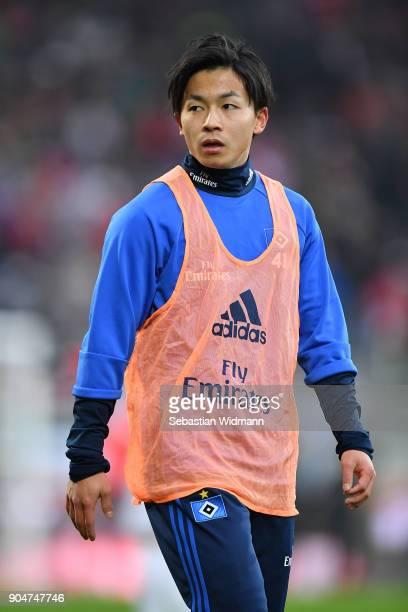 Tatsuya Ito of Hamburg looks over his shoulder prior to the Bundesliga match between FC Augsburg and Hamburger SV at WWKArena on January 13 2018 in...