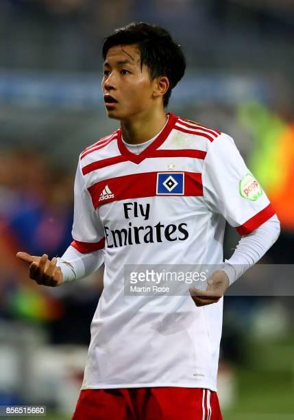 Tatsuya Ito of Hamburg reacts during the Bundesliga match between Hamburger SV and SV Werder Bremen at Volksparkstadion on September 30 2017 in...