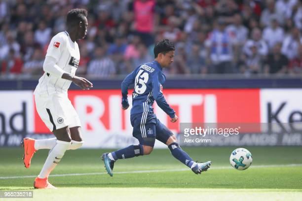 Tatsuya Ito of Hamburg scores a disallowed goal from offside position during the Bundesliga match between Eintracht Frankfurt and Hamburger SV at...