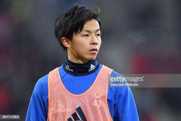 Tatsuya Ito of Hamburg warms up prior to the Bundesliga match between FC Augsburg and Hamburger SV at WWKArena on January 13 2018 in Augsburg Germany