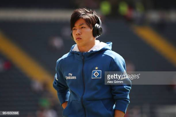 Tatsuya Ito of Hamburg with headset looks on before the Bundesliga match between Eintracht Frankfurt and Hamburger SV at CommerzbankArena on May 5...