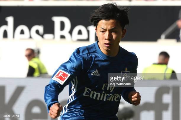 Tatsuya Ito of Hamburger SV in action during the Bundesliga match between VfB Stuttgart and Hamburger SV at MercedesBenz Arena on March 31 2018 in...