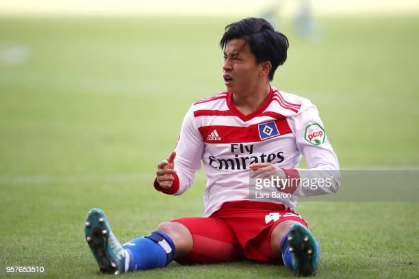 Tatsuya Ito of Hamburger SV reacts during the Bundesliga match between Hamburger SV and Borussia Moenchengladbach at Volksparkstadion on May 12 2018...