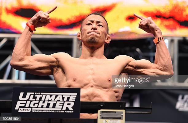 Tatsuya Kawajiri of Japan weighs in during the UFC weighin inside MGM Grand Garden Arena on December 10 2015 in Las Vegas Nevada