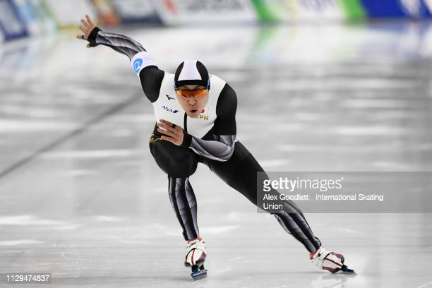 Tatsuya Shinhama of Japan competes in the men's 500m duing the ISU World Cup Final at the Utah Olympic Oval on March 9 2019 in Salt Lake City Utah
