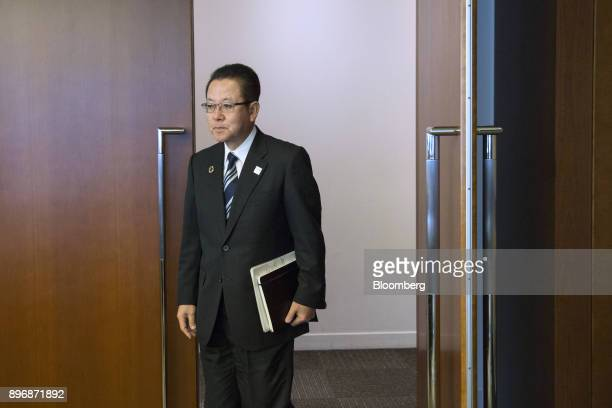 Tatsuya Tanaka president of Fujitsu Ltd arrives for a roundtable interview in Tokyo Japan on Friday Dec 22 2017 Fujitsu and Microsoft Corp today...