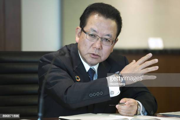 Tatsuya Tanaka president of Fujitsu Ltd speaks during a roundtable interview in Tokyo Japan on Friday Dec 22 2017 Fujitsu and Microsoft Corp today...